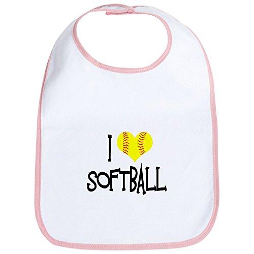 CafePress - I Love Softball Bib - Cute Cloth Baby Bib, Toddler Bib
