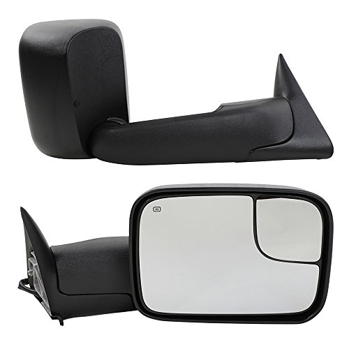 Dodge Tow Mirrors for 1998-2001 Dodge Ram 1500 & 1998-2002 Dodge Ram 2500 3500 Truck Power Heated Flip Up Manual Telescoping Folding Side Mirrors with Brackets