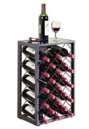 (Mango Steam 23 Bottle Wine Rack with Glass Table Top, Pewter)