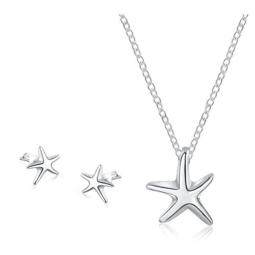 925 Sterling Silver Star Pendant - Majesto 925 Sterling Silver Star Fish Beach Pendant Necklace Stud Earrings Set For Women Teen Girls Prime Gift