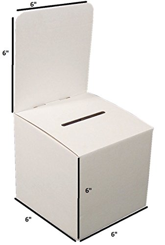 My Charity Boxes - Pack of 10 - Medium Cardboard Box - Ballot Box - Suggestion Box - Raffle Box - Ticket Box - With Removable Header for Tabletop Use (Ballot Box)