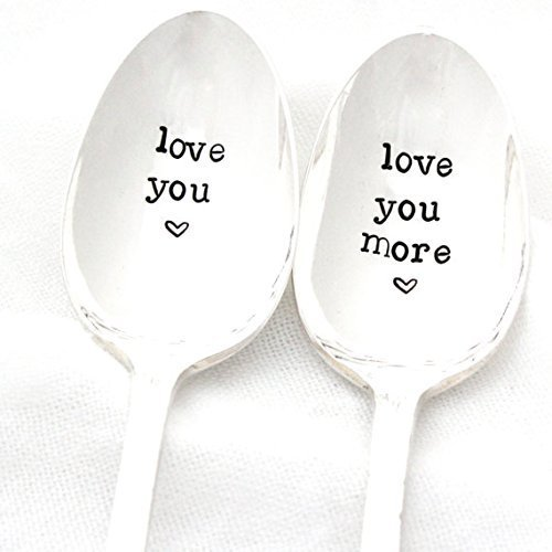 Love You, Love You More. Hand stamped coffee spoon set by Milk and Honey