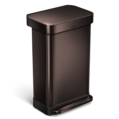 Price comparison product image simplehuman Rectangular Step Trash Can with Liner Pocket,  Dark Bronze Stainless Steel,  45 L / 11.9 Gal
