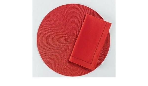 Etiqueta redonda Tejido manteles individuales, color rojo, juego de 4: Amazon.es: Hogar