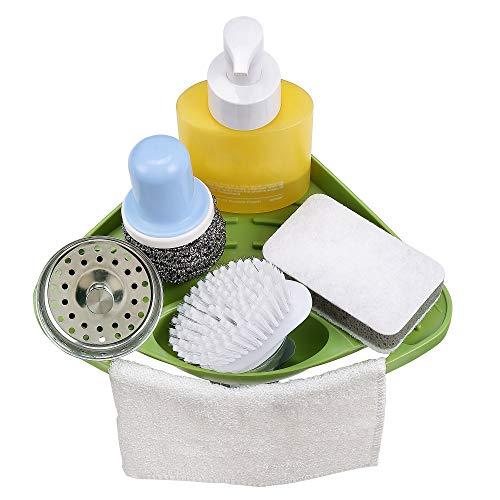 (ATTBEE Kitchen Sink Caddy Sponge Holder Scratcher Holder Cleaning Brush Holder Sink Organizer(Green))