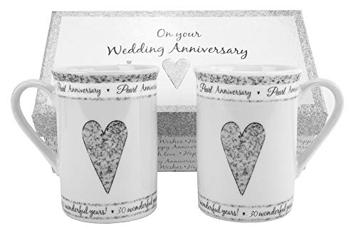 30th Pearl Wedding Set Ceramic Mugs by Happy Homewares ()