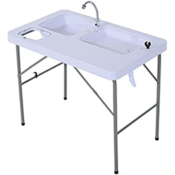 Amazon.com : Outsunny Portable Folding Camping Table w/ Faucet ...