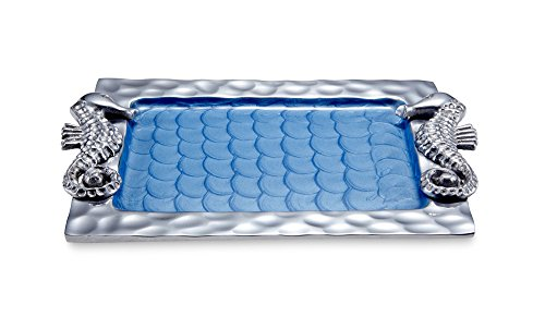 Julia Knight Sea Horse Petite Tray, 11-Inch, Azure, Blue ()