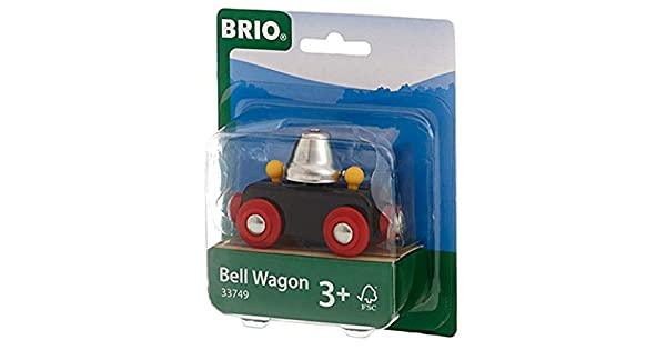 33749 BRIO Bell Wagon Wooden Railway Train Hear the Bell Ring as it Moves Along