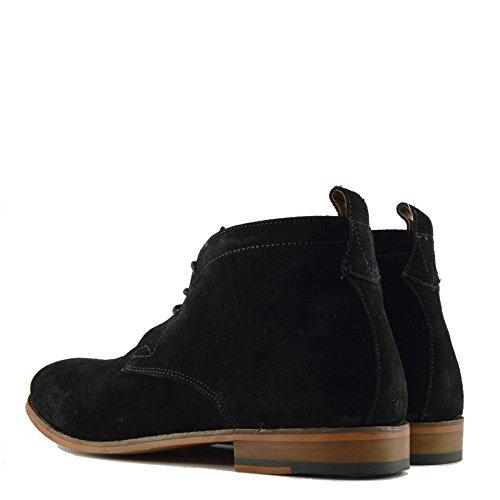 Scarpe Stivali Suede Piedi Casual di Deserto a Black Leather Nuovo Moda Caviglia up Suede Lace Mens aTqnWWgx7f
