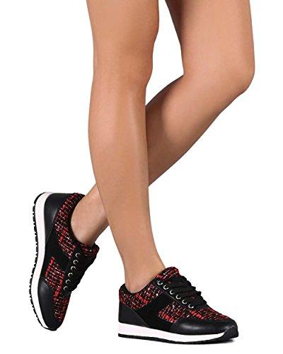 Wild Diva Ef89 Women Tweed Mix Media Sneaker Di Moda In Pizzo - Rosso