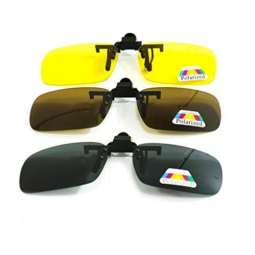 (HUELE 3 Pairs Polarized Clip On Sunglasses Over Prescription Eyeglasses for Men/Women)