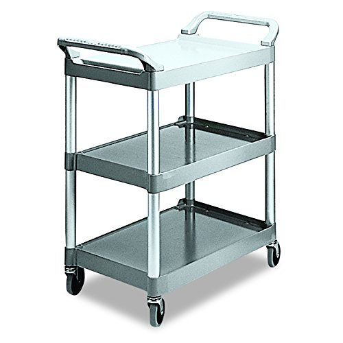 Rubbermaid Commercial Products Heavy Duty 3-Shelf Rolling Service/Utility/Push Cart, 200 lbs. Capacity, Platinum, for Foodservice/Restaurant/Cleaning (FG342488PLAT),White