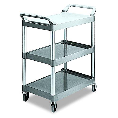 Rubbermaid Commercial Products Economy Plastic Cart, 3-Shelf, 200 Pounds, 18-5/8 x 33-5/8 x 37-3/4, Platinum (342488PM) (Shelf 3 Commercial Rubbermaid Products)