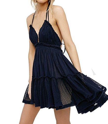 (R.Vivimos Womens Summer Halter Deep V Neck Sexy Patchwork Mini Short Dresses (Small, Dark Blue))