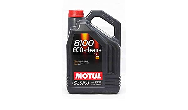 Amazon.com: Motul 101584 8100 ECO-Clean+ 5W30 Factory Approved 100% Synthetic Engine Oils, 5L, 169.05 Fluid_Ounces: Automotive