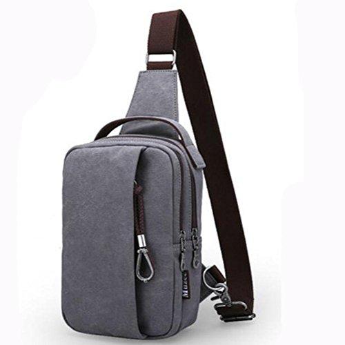 Bolso de hombro bolso del pecho de los hombres bolso torcido ocasional 25 * 16 * 10cm de la lona black fashion gray
