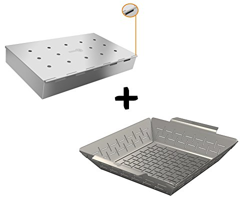 Smoker Box Wide + Vegetable Grill Basket - DISHWASHER SAFE STAINLESS STEEL - Large Non Stick BBQ Grid Pan For Veggies Meat Fish Shrimp & Fruit - Best Barbecue Wok Topper Accessories Gift for Dad - Stainless Steel Wok Topper