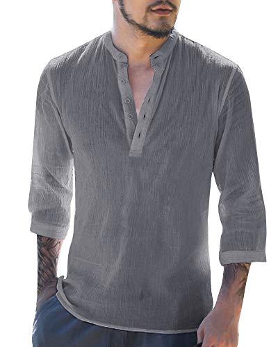 Makkrom Mens Linen 3/4 Sleeve Henley Shirts Cotton Loose Casual Summer Beach T Shirt Tops