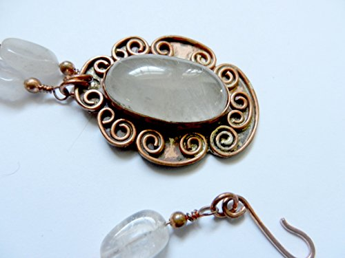rutilated quartz gemstone pendant necklace w/ copper link,rutilated quartz beads - Gem Womens Renee