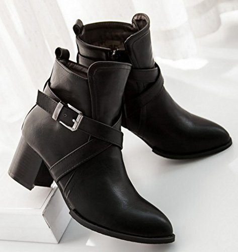 Womens Toe Dressy IDIFU Heels Up Mid Boots Ankle Chunky Side Black Martin Zip Pointed Buckled q5pCdC