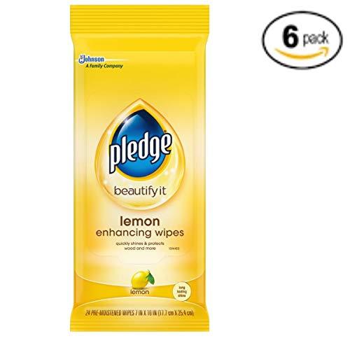 (Pledge Lemon Enhancing Wipes 24 count, Pack of 6)