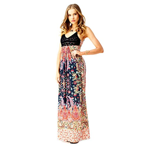 Color X Long Maxi Multi Penton Print Collection Small Open Sky Sleeveless Back Dress qKtPzUgwxw