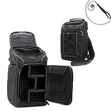 GEAR Compact dSLR Travel Backpack Case for Digital SLR Cameras and Accessories - Works With Canon EOS Rebel T3 , T3i, T4i, T5 , T5i , 5D Mark iii , 6D , 7D , 60D , 70D , 100D , 700D , 1200D , SL1 & More dSLR Cameras - Bonus Lens Cap Keeper