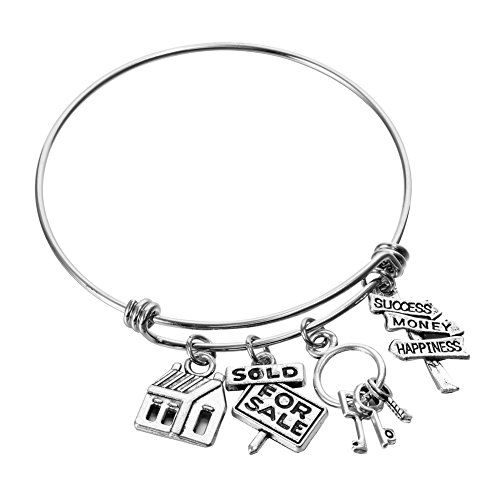 - Miss Pink Real Estate Agent Charm Bangle Stainless Steel Expandable Wire Bracelets Realtor Jewelry Gifts (Sold for Sale)