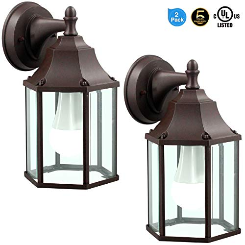 LED Wall Lantern, Wall Sconce as Porch Light, 14W (100-150W Equivalent), 1500 Lumen, Aluminum Housing Plus Glass, Matte Finish, Outdoor Rated,UL Include (A21 14W),Brown for 2Pack 9149