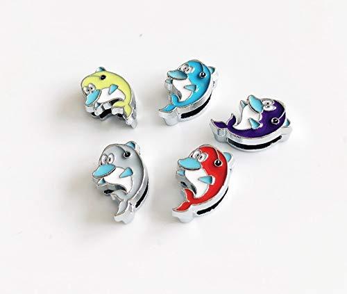 (50pcs 8mm Enamel Mixed Color Dolphins Slide Charms Letters DIY Accessories Fit 8mm Belts Bracelets Pet Collar)