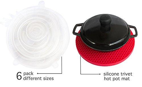 6 Money-Saving Silicone Stretch Lids with BONUS Pot Holder Trivet | 3 Colors | Reusable, Expandable, Durable, Versatile Food Covers | for Bowls, Containers, Cans, Mason Jars, Mugs