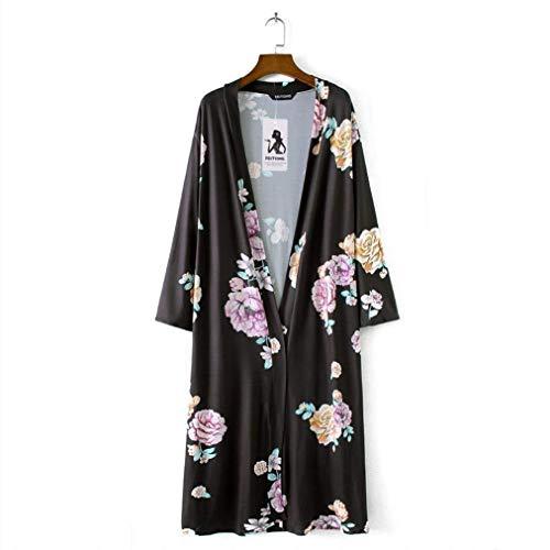 Retro Exteriores Prendas Moda Elegantes Mujer Manga Casuales Grande Flores Talla Verano Primavera Outwear Patrón Largo Cubrir Relaxed Schwarz De Ligeros Cardigan Abierto 84xOnHqw