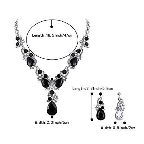 BriLove Women's Wedding Bridal Crystal Multi Teardrop Cluster Statement Necklace Dangle Earrings Set 4