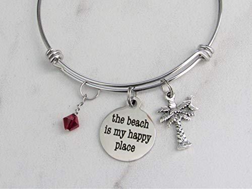 The Beach Is My Happy Place Adjustable Stainless Steel Bangle Charm Bracelet With Palm Tree Charm & Swarovski Birthstone Crystal, Palmetto Moon - Tree Palm Swarovski Crystals