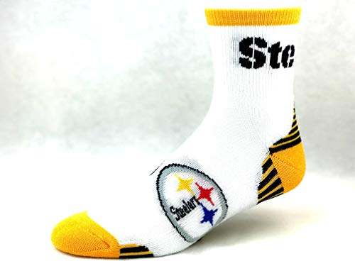 (For Bare Feet Pittsburgh Steelers M1500R White Quarter Socks - Size Large)