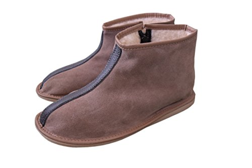 Womens Mens Unisex Natural Leather and Sheep's Wool Lining Slippers Boots Size 3-12 Suede Gray 06yvF