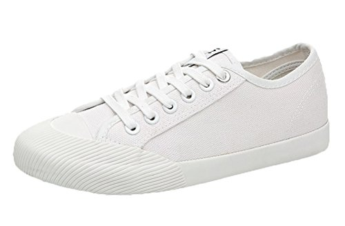 T&Mates Womens Fashion Lace-up Low Top Breathable Round Toe Flat Sneakers Casual Shoes (8 B(M) US,White)