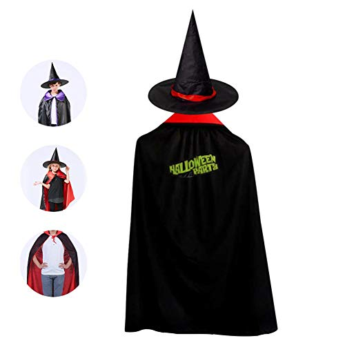 Kids Halloween Cloak with Witch Hat,Halloween Party Logo Wizard Cap Christmas Party Costume]()
