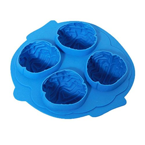(Transer Brain Shape Cool Ice Tray Chocolate Mold Silicone Fondant Moulds (Blue #2))