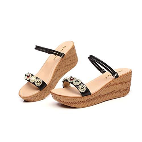 Steigung größe 37 Einem mit Dicken Schwarz Lose Jingsen Farbe Frauen mit Sommer Weiche Sandalen Schwester Schuhe Boden Schuhe Strass Paar Zwei HxqqP5OwtR