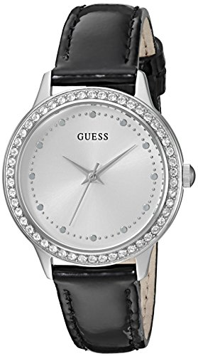 GUESS Women's U0648L7 Dressy Silver-Tone Watch with White Dial , Crystal-Accented Bezel and Genuine Leather Strap - Dial Ladies White Guess