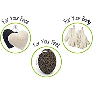 Zen Me Exfoliating Set 2 Pairs Body Wash & Scrub Gloves + 2 Konjac Face Sponge White & Charcoal + 1 Pumice Lava Stone, Best for Deep Exfoliation & Gentle Facial Cleansing, for Bath & Shower