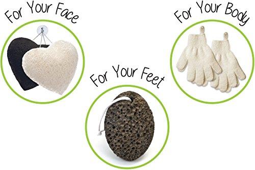 Zen Me Exfoliating Set 2 Pairs Body Wash & Scrub Gloves + 2 Konjac Face Sponge White & Charcoal + 1 Pumice Lava Stone, Best for Deep Exfoliation & Gentle Facial Cleansing, for Bath & Shower