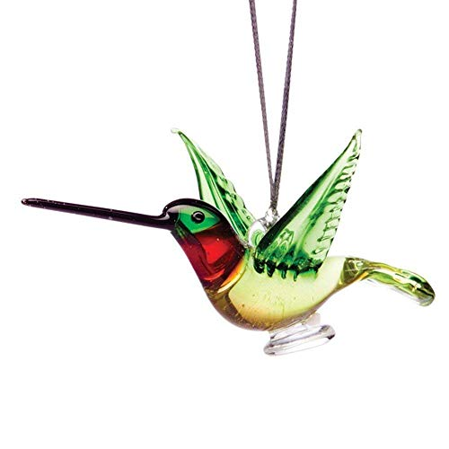 - Handmade Glass Hanging Hummingbird Ornament - 3.5