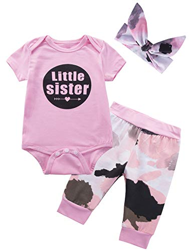 ister 3PCS Outfit Set Short Sleeve Bodysuit Camouflage Pants and Headband (3-6 Months) ()