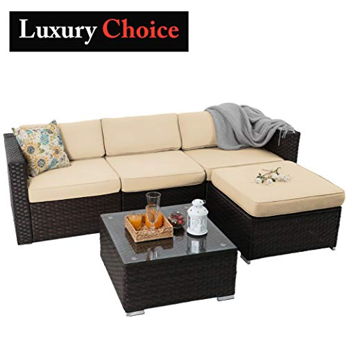 PHI VILLA 5 Piece Outdoor Furniture Rattan Sofa Conversation Sofa Set Patio Wicker Furniture Set, Beige