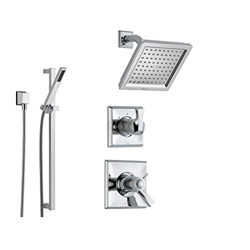 Delta Dryden Chrome Shower System with Thermostatic Shower Handle, 3-setting Diverter, Modern Square Showerhead, and Handheld Shower SS17T5185 Delta Faucets