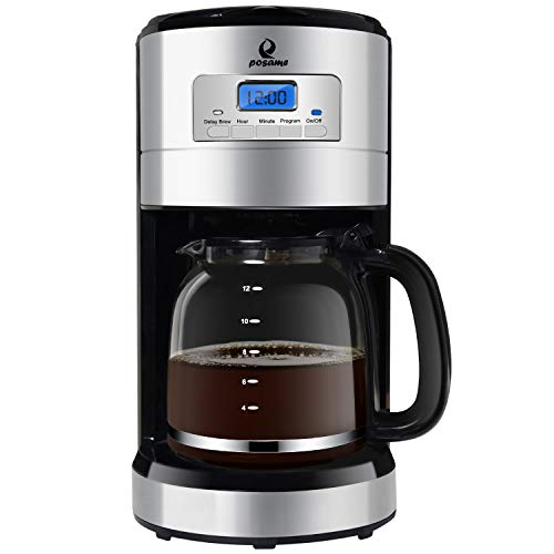 Posame Thermal Automatic Programmable Coffeemaker, 24 Hours Brew Timer, LED Digital Screen, 12-Cup Glass Carafe, Removable Mesh Filter Basket, Black/Stainless ()