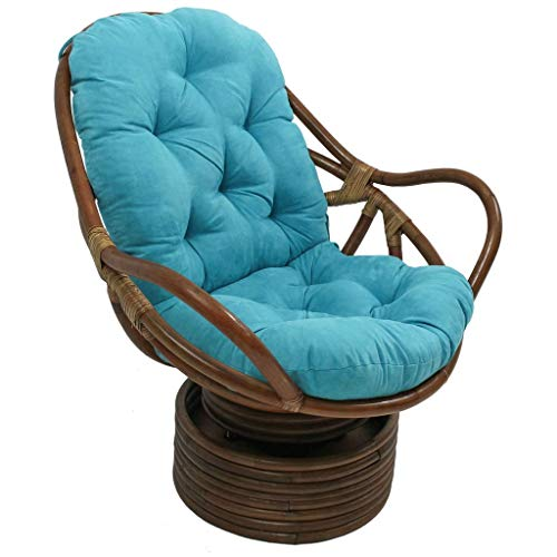 Micro Suede Rocker - International Caravan 3310-MS-AB-IC Furniture Piece Rattan Swivel Rocker Micro Suede Cushion